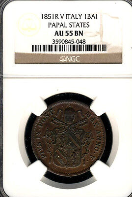 PAPAL STATES VATICAN 1 BAIOCCO 1851 NGC CERTIFIED AU 55 ITALY COIN (Stock# 0317)