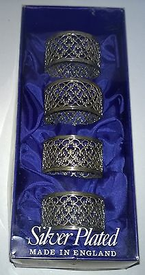 Lovely Vintage English  Boxed Set Of Four Silver Plated Fretwork Napkin Rings