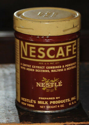 Vintage NESCAFE COFFEE CAN c. 1930 Antique Tin Nestle Good Condition