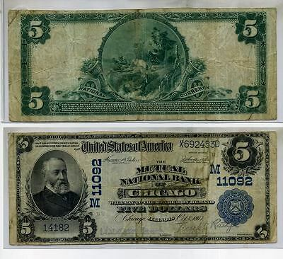 Chicago Illinois Mutual National Bank Note 1902 $5