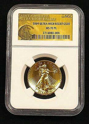 2009 Ultra High Relief $20 Gold Double Eagle, NGC MS 70 PL