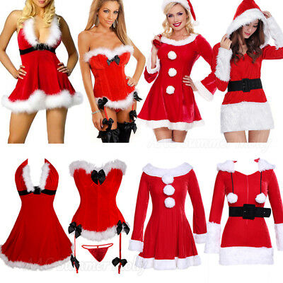 2018 Sexy Women's Santa Claus Christmas Costume Cosplay Party Outfit Fancy Dress