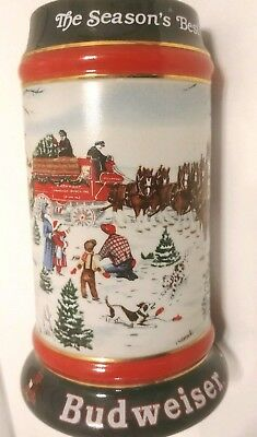 BUDWEISER HOLIDAY CHRISTMAS BEER STEIN MUG The Season's Best Clydesdales 1991
