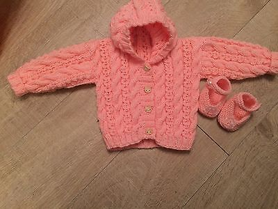 Handmade Hooded baby Jacket And Little Shoes In DK Peach size 0/3 Months
