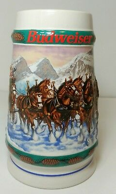 BUDWEISER HOLIDAY CHRISTMAS BEER STEIN MUG Special Delivery Clydesdales 1993