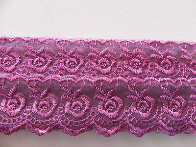 Dusky Pink Silky embroidered Lace - 4cm