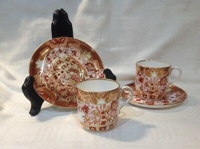 Spode Copeland Pair Of Coofee Cans Imari Style Pattern Deep Red/ Orange C1887