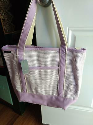 Lands End NWT Large Open Top Lavender Check LAP TOP Tote