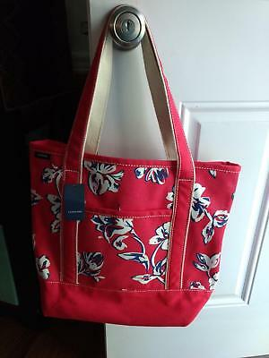 Lands End NWT Large Open Top Red &  Navy White Floral LAP TOP Tote
