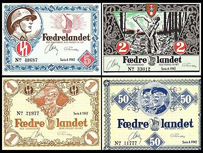 Currency Denmark 1942 WW2 Danish Legion Feldpost War Occ Set Uncirculated