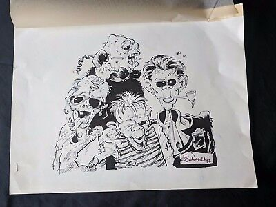 """SCOTT SAAVEDRA 15"""" x 11.5"""" Concept Drawing Pen and Ink 1986 SIGNED Art"""