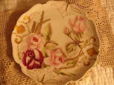 "Antique Signed Jp Limoges France Hand Painted Rose Flowers 8 1/2"" Plate"