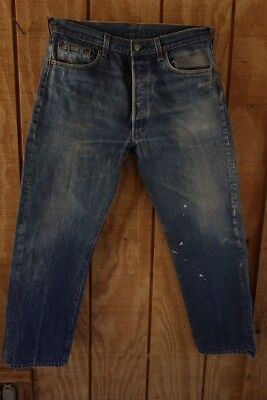 Vintage Denim Levis 501 Jeans 34 x 30 Made in USA single stitch inseam black bar