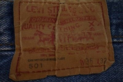 Vintage Denim Levis 501 Jeans 36 x 32 Made in USA Original Single Stitch inseams