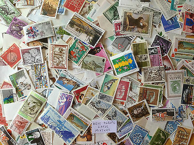 100 Grams Western Europe Large/Commemorative off paper Mixture over 800 stamps