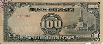Currency Japan Philippines 1943 WWII Occupation Peso Hundred 100 Note Circulated