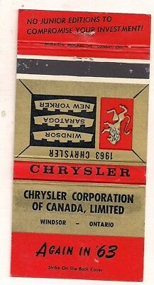 Chrysler Corporation of Canada Limited Windsor ON Ontario 1963 Matchcover 101117
