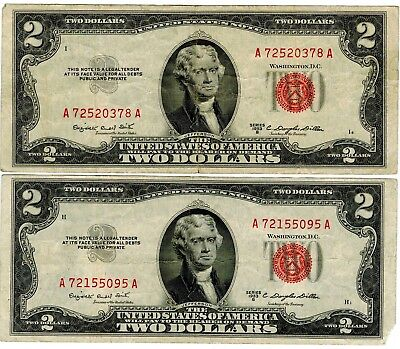 Two 1953 B $2 Paper Money, A72520378A, A72155095A