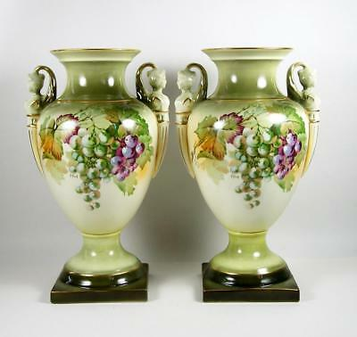 Vintage Porcelain Mantle Urns Figural Handles Green Purple Grapes 12 3/4""