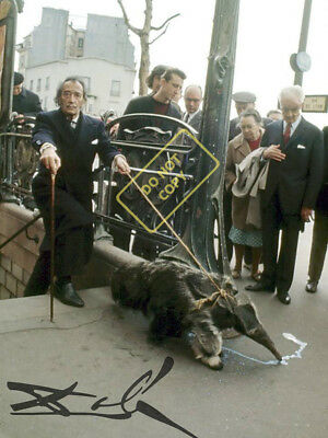 REPRINT RP 8x10 Signed Autographed Photo:   Salvadore Dali and His Anteater