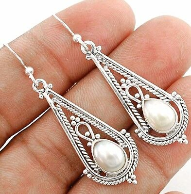 """French Pearl 925 Solid Sterling Silver Earring Jewelry 1 7/8"""" Long"""