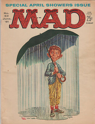 June 1961 MAD MAGAZINE # 63 APRIL SHOWERS Cover..BUDWEISE/BUT WISER Back Cover