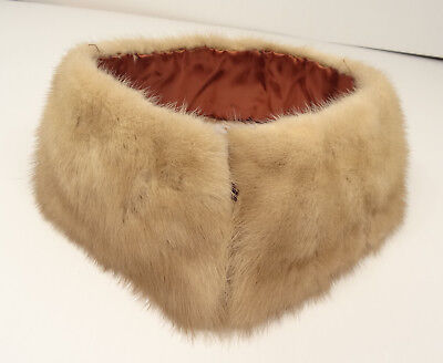 Beauty! Vtg 60s Lt-Brown/Fawn/Dk-Cream Mink? Fur Stand-up Collar-Hook/Eye