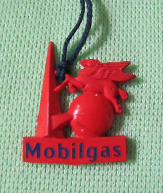 Vintage Mobilgas tiny hard plastic toy or pendant or souvenir Dalynip NY