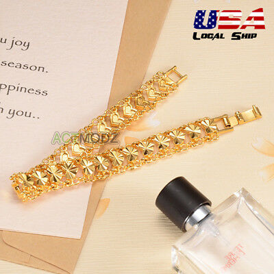 Luxury Ladies 24K Gold Plated Jewelry Heart Chain Bracelet Bangle Ship From USA