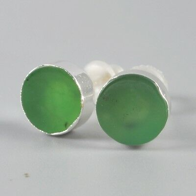 925 Sterling Silver 8mm Round Natural Chrysoprase Stud Earrings H100665