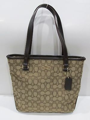 New tag Coach Khaki Brown Outline Signature Zip Top Tote Bag Purse F58282 $275