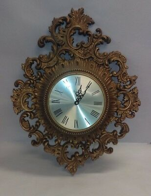 Very Nice Vintage Decorative Gilt Arabesque wall clock by Burwood