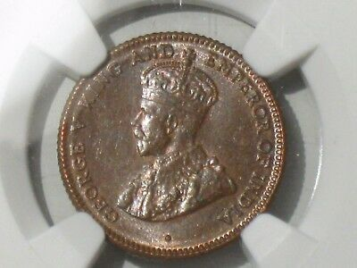 1916 Straits Settlements 1/4 Cent, NGC Graded at MS-64 BN