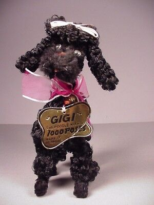"""Vintage 1950's Poodle toy Gigi 1000 poses with tag  8"""" tall use with dolls"""