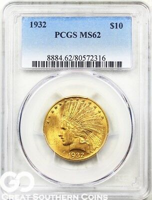 1932 Gold Eagle, $10 Gold Indian PCGS MS 62 ** Lustrous Rich Look, Free S/H!