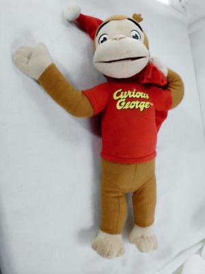 "Curious George Santa Plush Toy Christmas Stuffed Doll 15"" Santa Hall & Bag"
