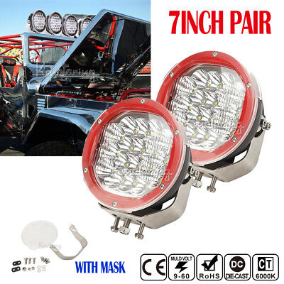 2X7INCH 3600W CREE Spot Flood Beam LED Driving Lamps SUV Truck 4WD Red With Mask