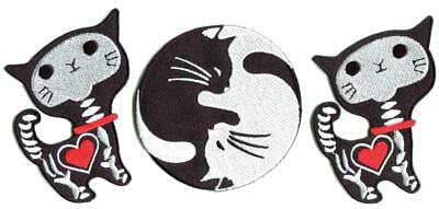 Lot of 3 yin yang x-ray cat kitten embroidered appliques iron-on patches