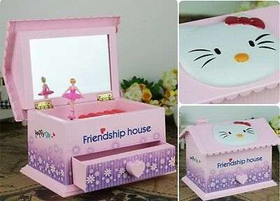 Pink Hello Kitty House''Castle in the Sky'' Music Box Jewelry Box Birthday Gift