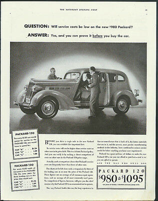 Question: Will service costs be low on the new $980 Packard 120 ad 1935