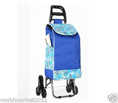 %H New Convenient Blue Pattern Six-Tire Collapsible Shopping Luggage Trolleys