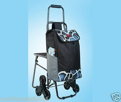 New Blue Pattern Chair Six-Tire Convenient Collapsible Shopping Luggage Trolleys
