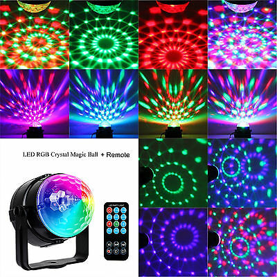 RGB LED Disco Home Party Crystal Magic Ball Stage Effect Light Lamp With Remote