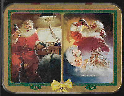 Coca-Cola Double Deck of Playing Cards in Metal Tin 1997 Santa Claus 1949 1951