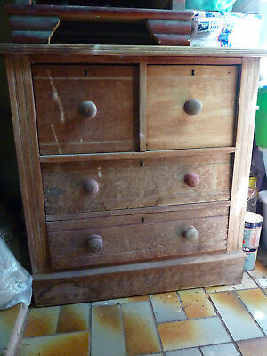 Antique Rustic Edwardian Australian Pine 4 Drawer Chest of Drawers Tallboy