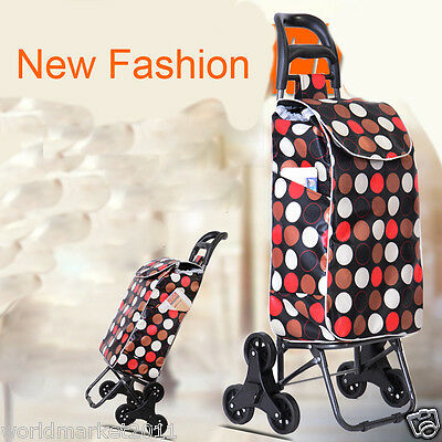 %HNew Convenient White Dot Pattern Six-Tire Collapsible Shopping Luggage Trolley