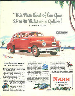 This car goes 25 to 30 miles on a gallon! Nash Ambassador 600 ad 1942