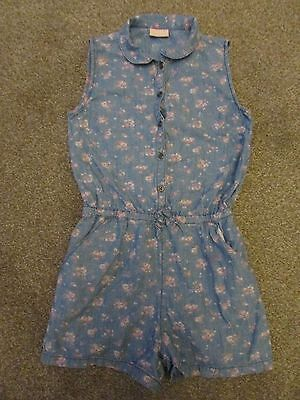 Next girls 12 years denim look floral shorts playsuit / jumpsuit - Exc con