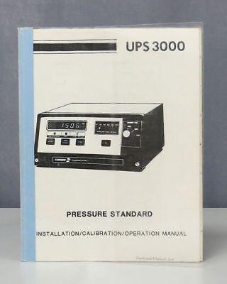 Consolidated Controls Corporation UPS 3000 Pressure Standard Operation Manual