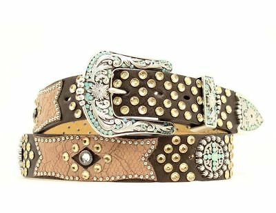 Ariat Western Belt Womens Leather Cross Conchos Brown A1511802
